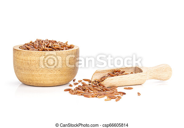 Raw red rice isolated on white - csp66605814