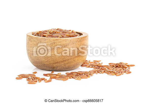 Raw red rice isolated on white - csp66605817