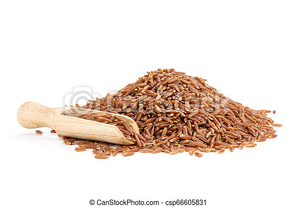 Raw red rice isolated on white - csp66605831