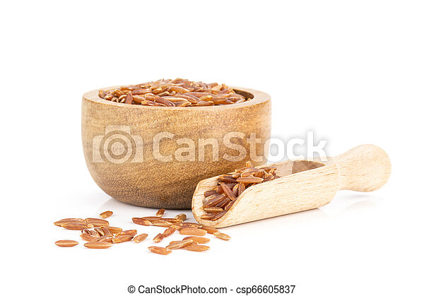 Raw red rice isolated on white - csp66605837