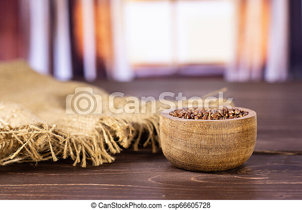 Raw red rice with curtains - csp66605728