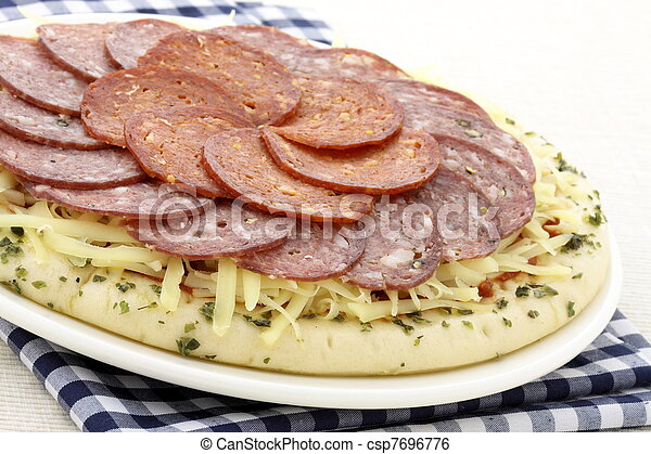 raw salami and pepperoni pizza - csp7696776