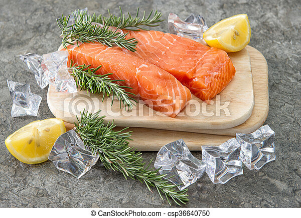 373617d4b486 Raw salmon fillet with fresh herbs. seafood. fish. Raw salmon fillet ...