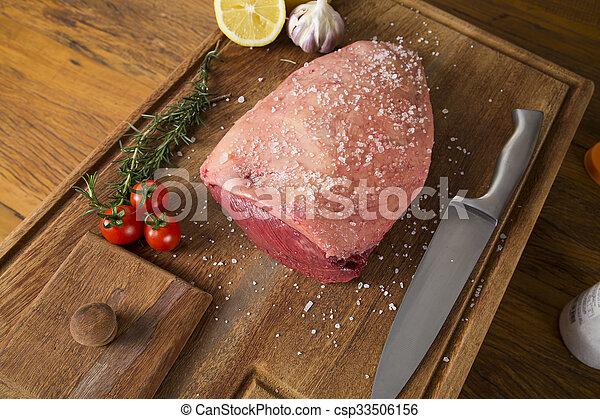 raw steak on wooden board - csp33506156