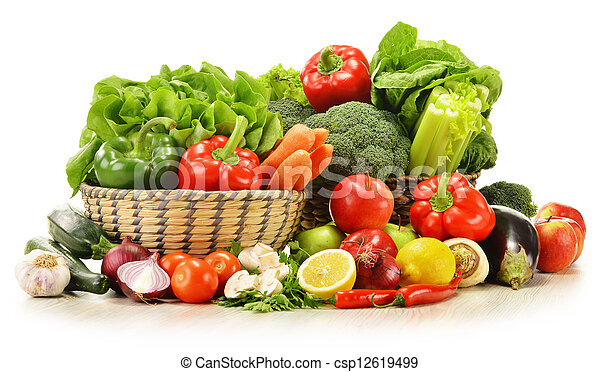 raw vegetables in wicker basket isolated on white - csp12619499