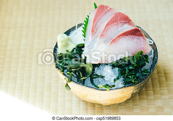 Raw With Fresh Hamachi Meat Fish Sashimi Raw With Fresh Hamachi