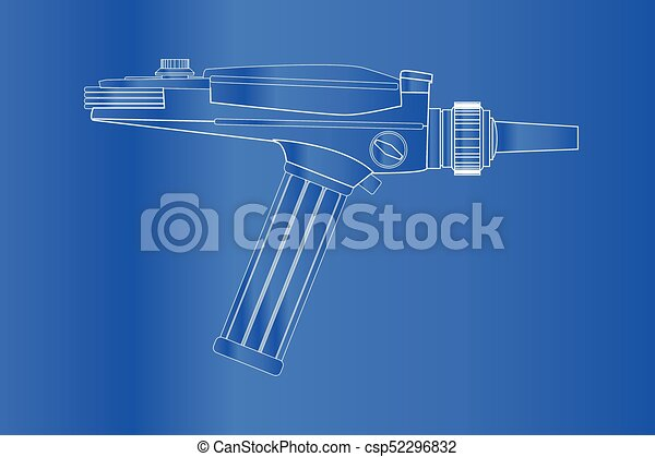 An old style ray gun blueprint as may have been used in 60s ray gun blueprint csp52296832 malvernweather Images