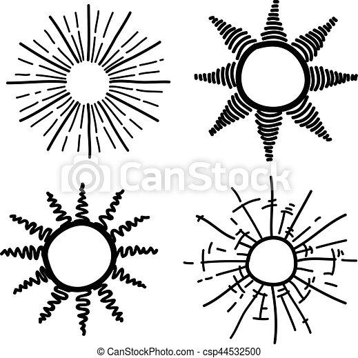 rayo sol dibujo mano sol drawing set mano diseño sunburst rayo