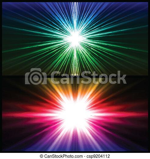 rayons, coloré, light., deux, vecteur, fond - csp9204112