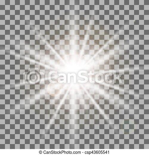 rayons, illustration., lumière, isolé, effet, arrière-plan., vecteur, blanc, transparent - csp43605541