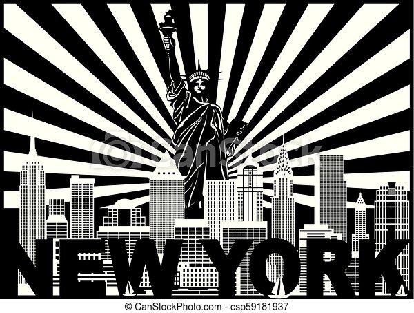 Los rayos de sol de Nueva York ilustran el horizonte de texto - csp59181937