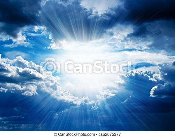 Rays of sunshine breaks through the clouds - csp2875377