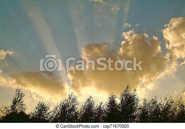 rays of the sun through clouds - csp71670920