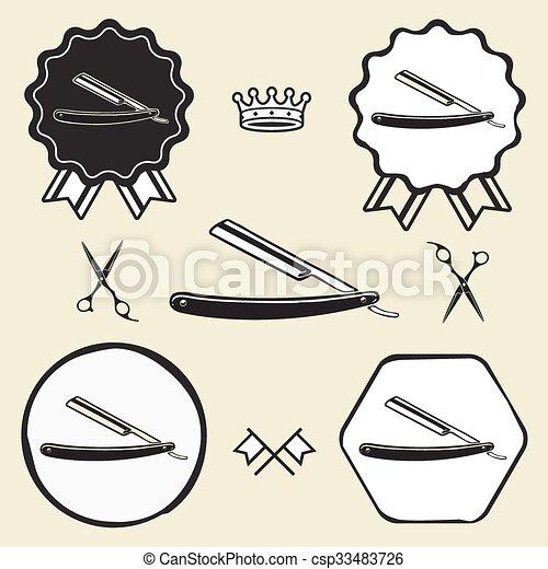 razor barber symbol emblem label collection - csp33483726