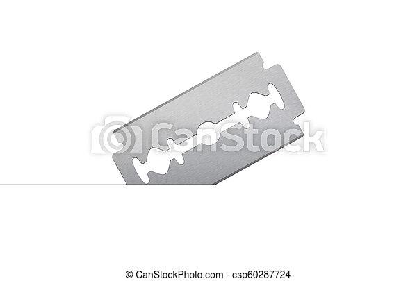 razor blade on white background - csp60287724