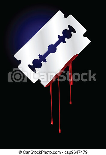 Razor Blade with Blood - vector ill - csp9647479