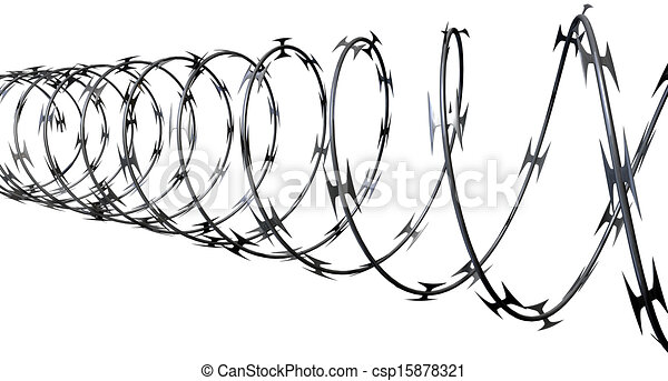 Razor wire perspective. A coil of razor wire on an isolated white ...