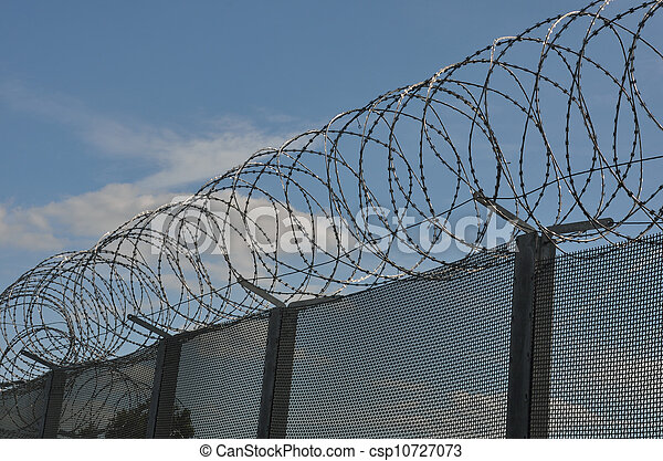 Razor wire with fence - csp10727073