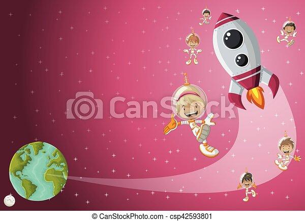 Razzo spazio volare cartone animato astronauta shuttle