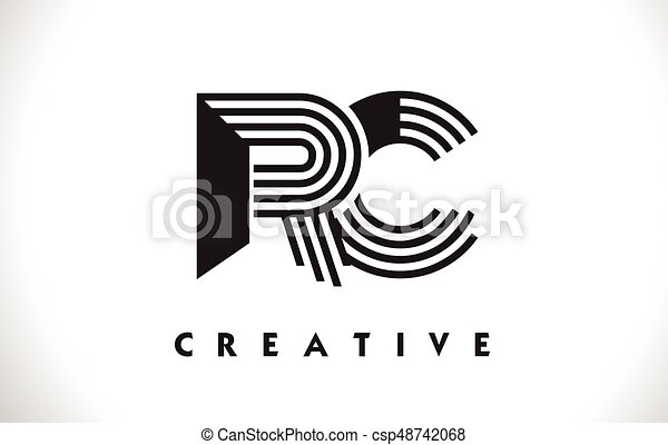 Line Design Clipart Free : Rc logo letter with black lines design line vector clip
