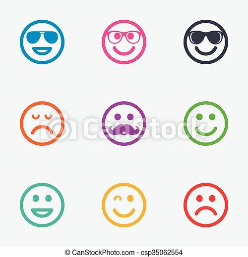 Reír., sonrisa, bigote, gafas de sol, icons. Plano, gráfico, feliz ...