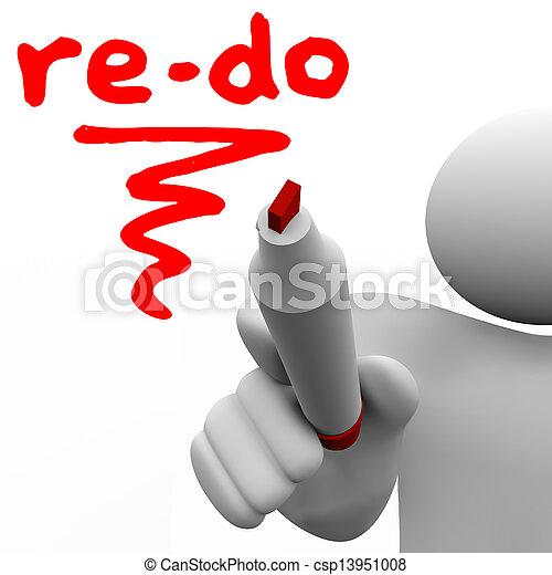 re-do, woord, geschreven, plank, teken, redo, veranderen, man - csp13951008