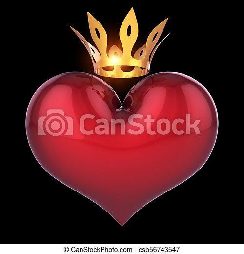 Re Dorato Astratto Regina Corona Forma Cuore Nero Rosso Re