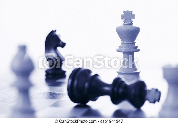 re, nero, gioco, scacchi, sconfitta, bianco - csp1941347