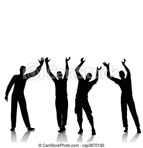 Reaching man silhouettes - csp3870192