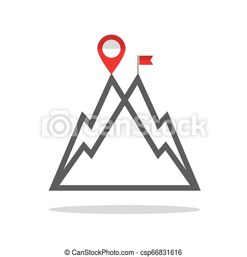 Reaching the Mountain Top Vector Symbol with Mountains, Destination Pin and Flag. Business Success Concept. - csp66831616