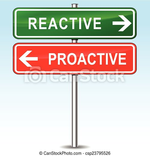 reactive and proactive directions sign - csp23795526