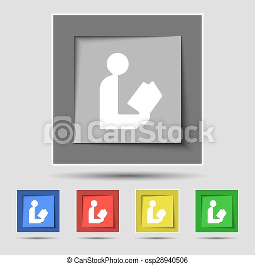 read a book icon sign on original five colored buttons. Vector - csp28940506