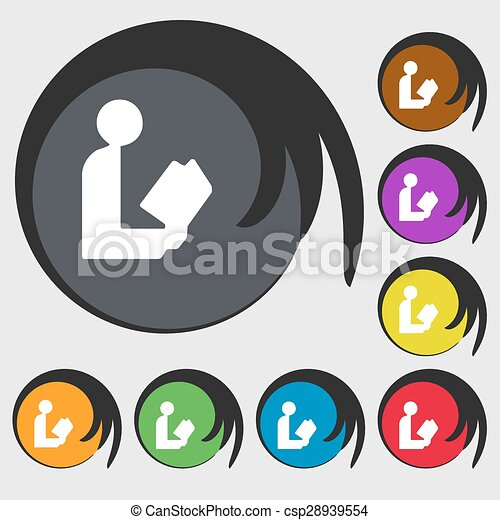 read a book icon sign. Symbol on eight colored buttons. Vector - csp28939554