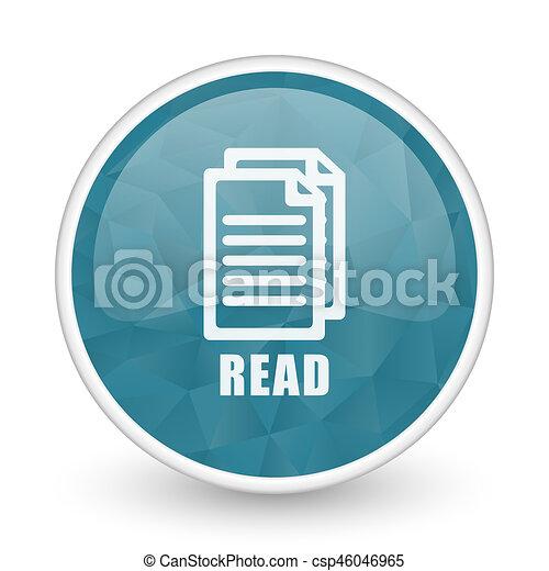 Read brillant crystal design round blue web icon. - csp46046965