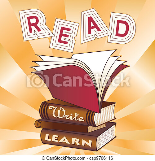 Read Write Learn Stack Of Books Ray Pattern Background For