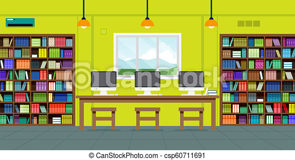 Readers in the library - csp60711691