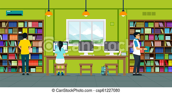 Readers in the library - csp61227080