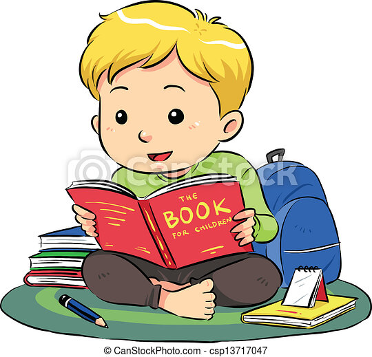a boy sitting and reading a book vector eps8 file eps vector rh canstockphoto com clipart children's reading books clipart children's reading books