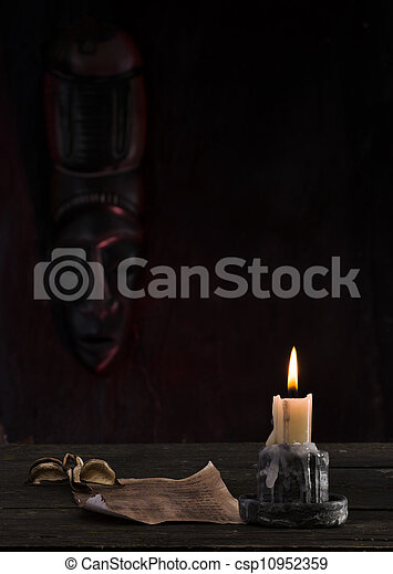 Reading a letter by candle - csp10952359