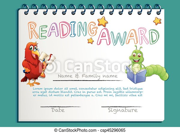 Reading award certificate template with bird reading book clip reading award certificate template with bird reading book vector yadclub Choice Image