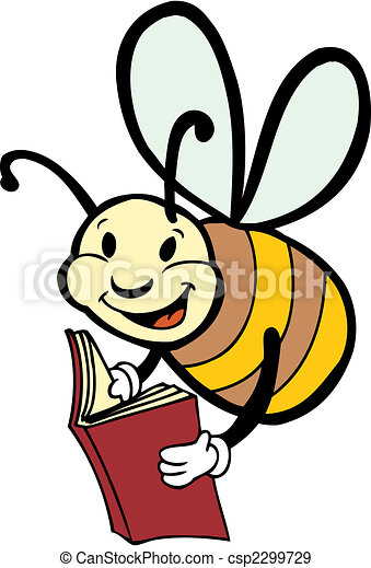 reading bee bee reading a book eps vectors search clip art rh canstockphoto com Reading Book Clip Art Reading Book Clip Art