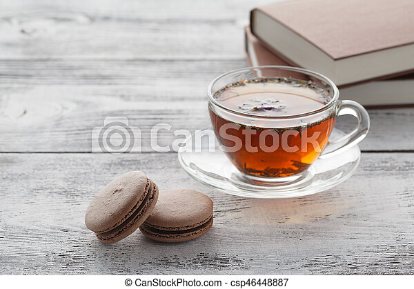 Reading book in time of breakfast with coffee - csp46448887