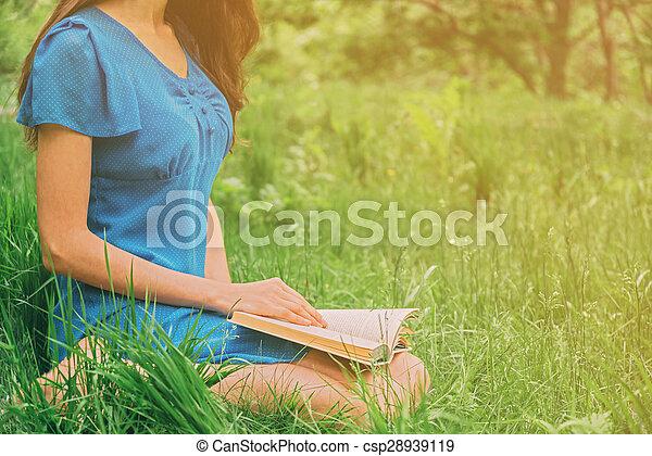 reading book outdoor in summer - csp28939119