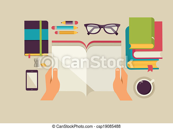 Reading books desktop, set of flat icons - csp19085488