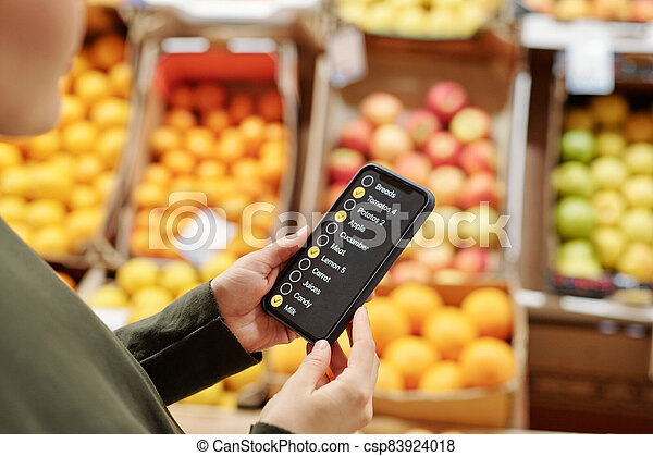 Reading food product list - csp83924018