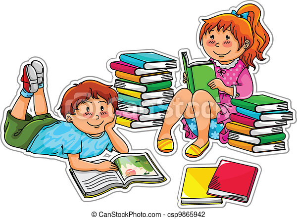 reading kids two kids reading books vector illustration search rh canstockphoto com clipart of child reading bible free clipart of child reading book