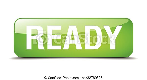 ready green square 3d realistic isolated web button - csp32789526