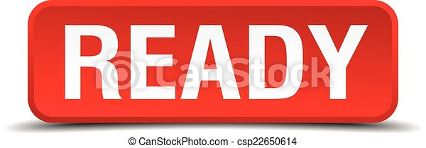 Ready red 3d square button isolated on white - csp22650614
