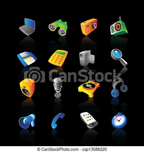 realístico, jogo, dispositivos, ícones - csp13586220