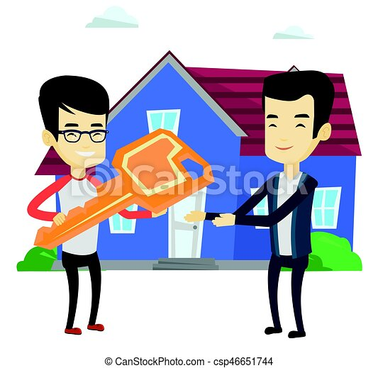 real estate agent giving key to new house owner asian real eps rh canstockphoto com new house clipart free new house clipart free